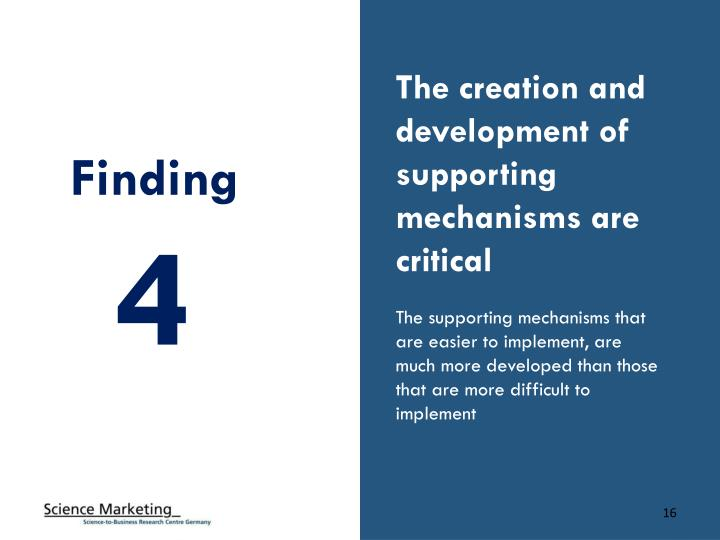 The creation and development of supporting mechanisms are critical