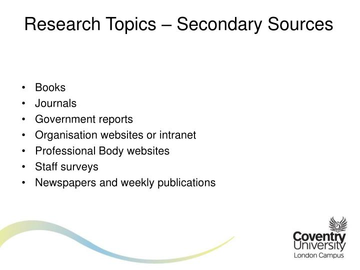 Research Topics – Secondary Sources