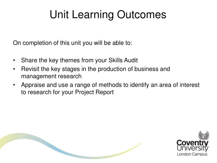 Unit Learning Outcomes