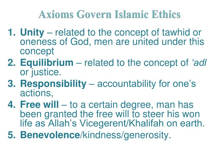 Axioms Govern Islamic Ethics