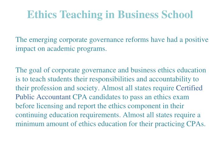 ethics teaching in business school