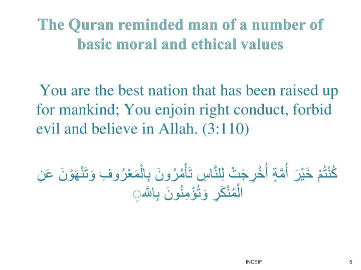 The Quran reminded man of a number of basic moral and ethical