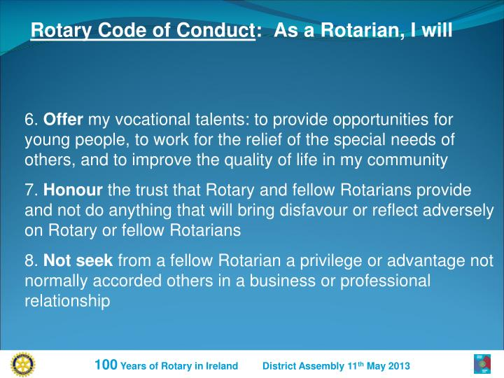Rotary Code of Conduct