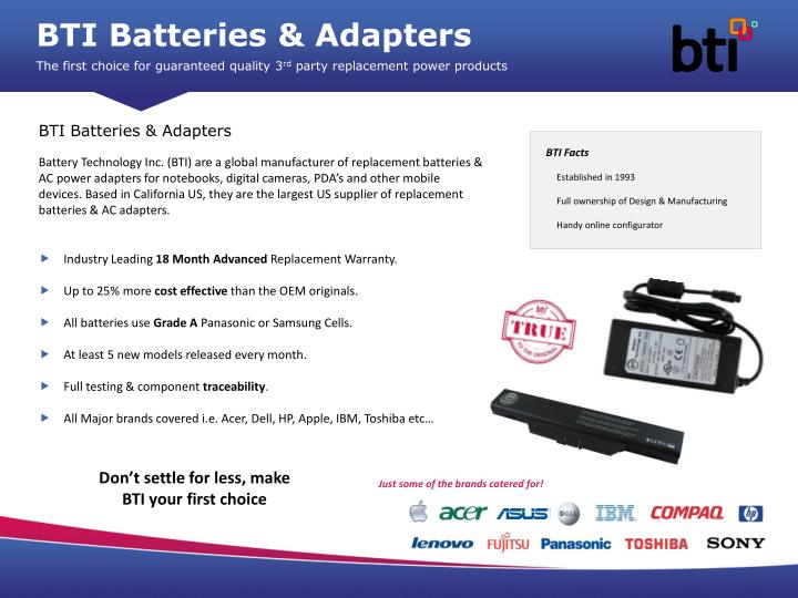 BTI Batteries & Adapters