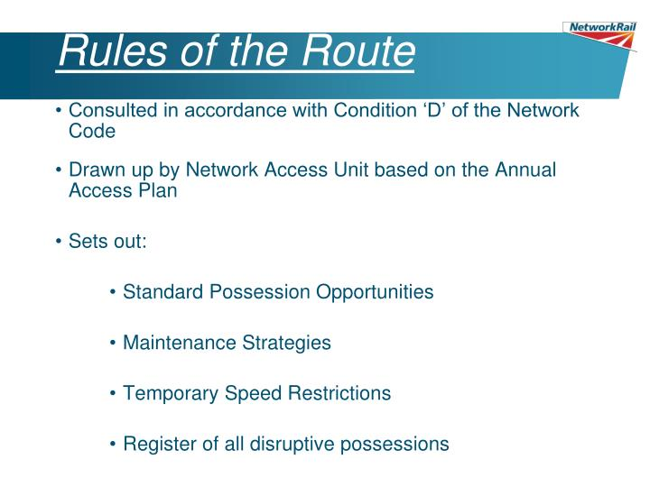 Rules of the Route