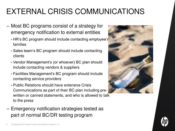 External crisis communications