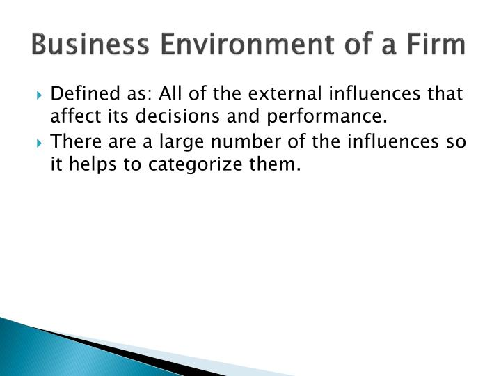 Business environment of a firm