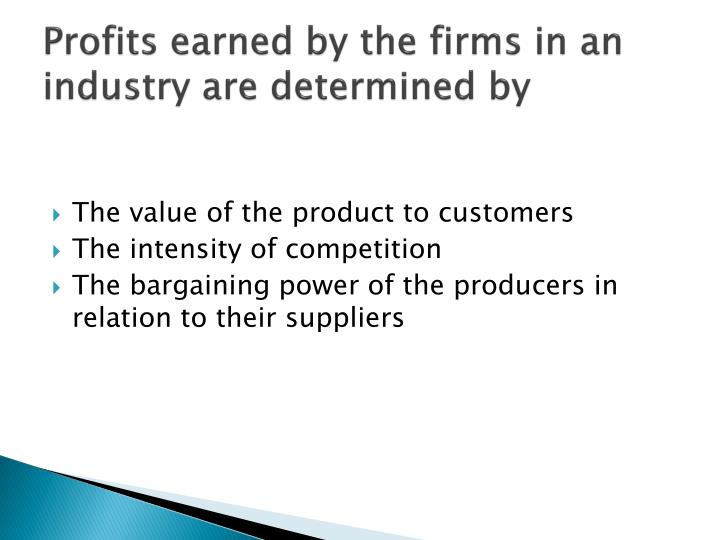 Profits earned by the firms in an industry are determined