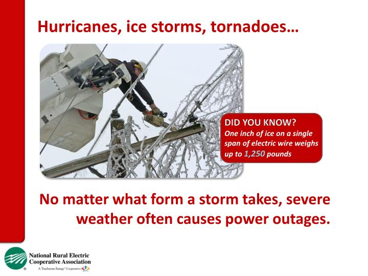 Hurricanes, ice storms, tornadoes…