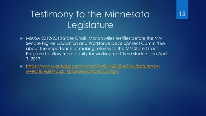 Testimony to the Minnesota Legislature