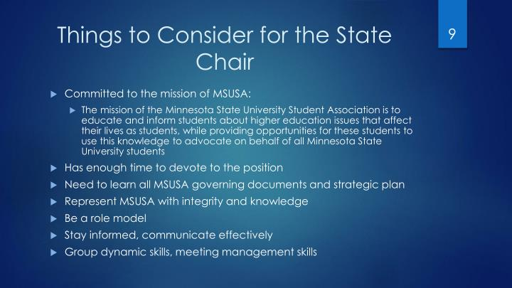 Things to Consider for the State Chair