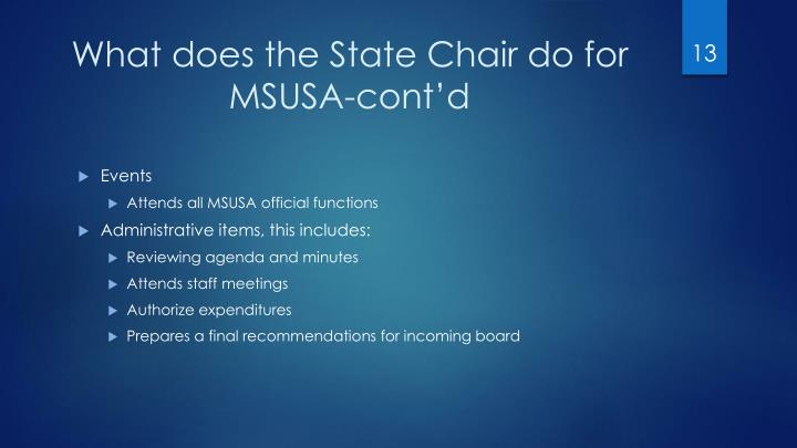 What does the State Chair do for MSUSA-cont'd
