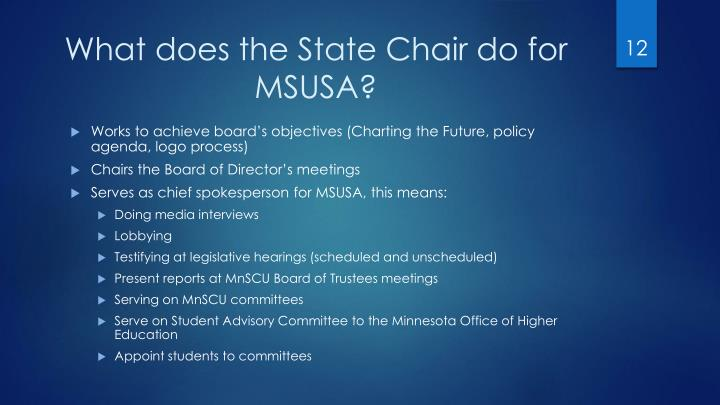 What does the State Chair do for MSUSA?