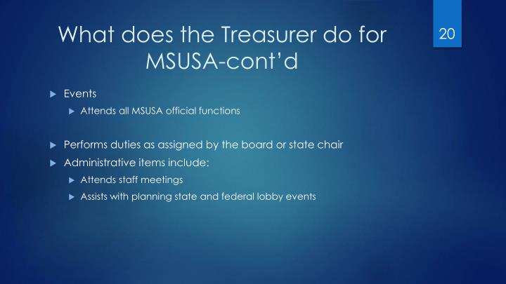 What does the Treasurer do for MSUSA-cont'd