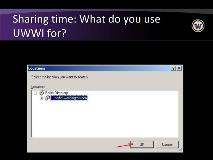 Sharing time: What do you use UWWI for?