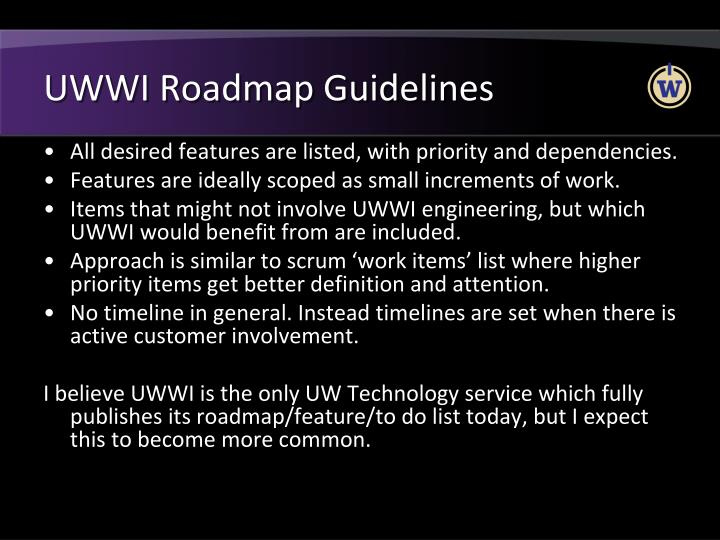 UWWI Roadmap Guidelines