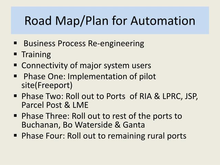 Road Map/Plan for Automation
