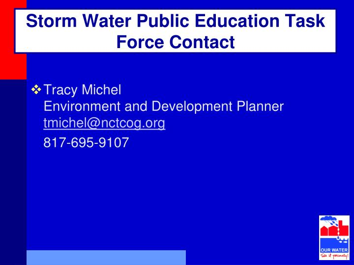 Storm Water Public Education Task Force Contact