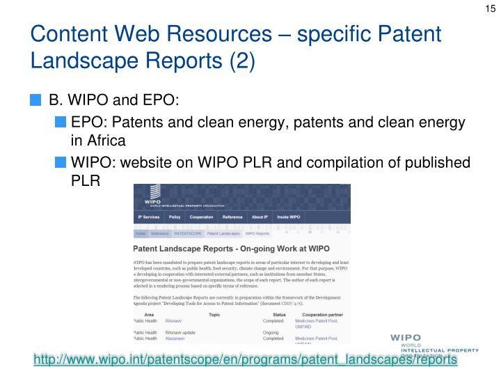 Content Web Resources – specific Patent Landscape Reports (2)