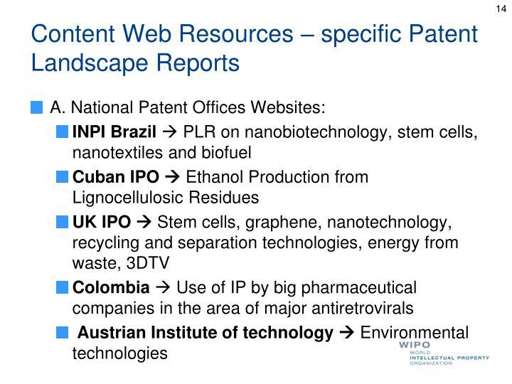 Content Web Resources – specific Patent Landscape Reports