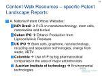 content web resources specific patent landscape reports