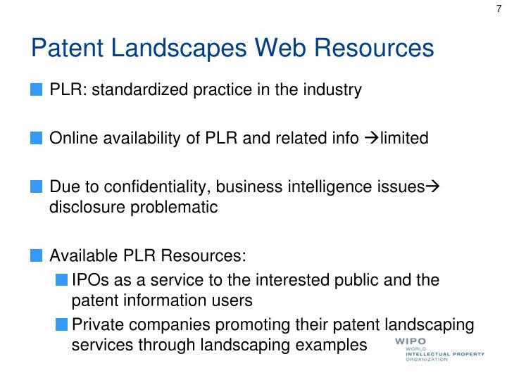 Patent Landscapes Web Resources
