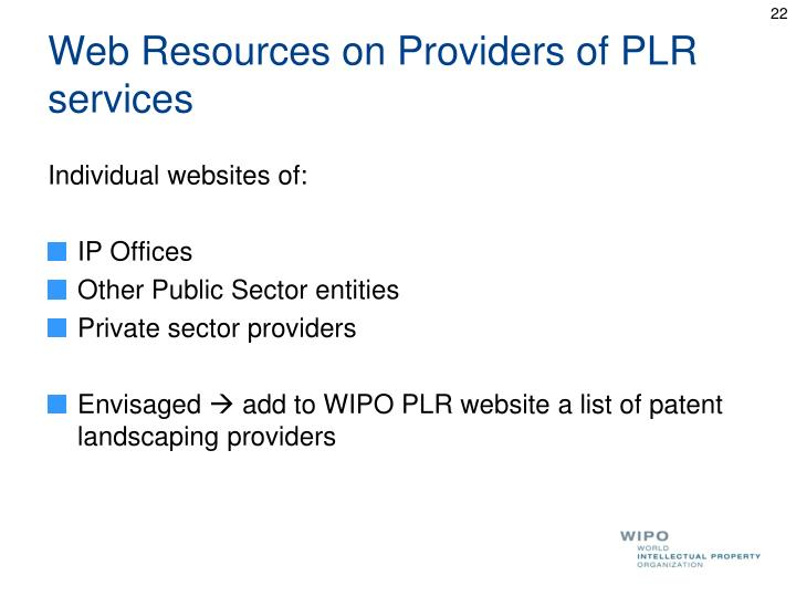Web Resources on Providers of PLR services