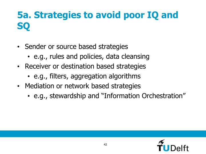 5a. Strategies to avoid poor IQ and SQ