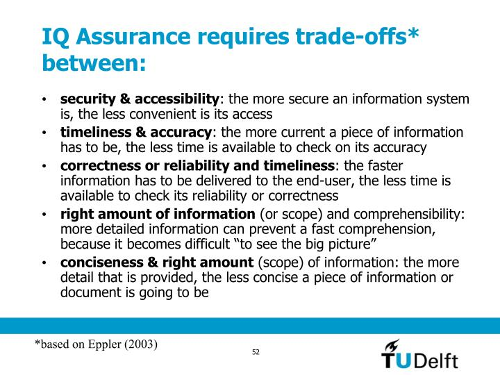 IQ Assurance requires trade-offs* between: