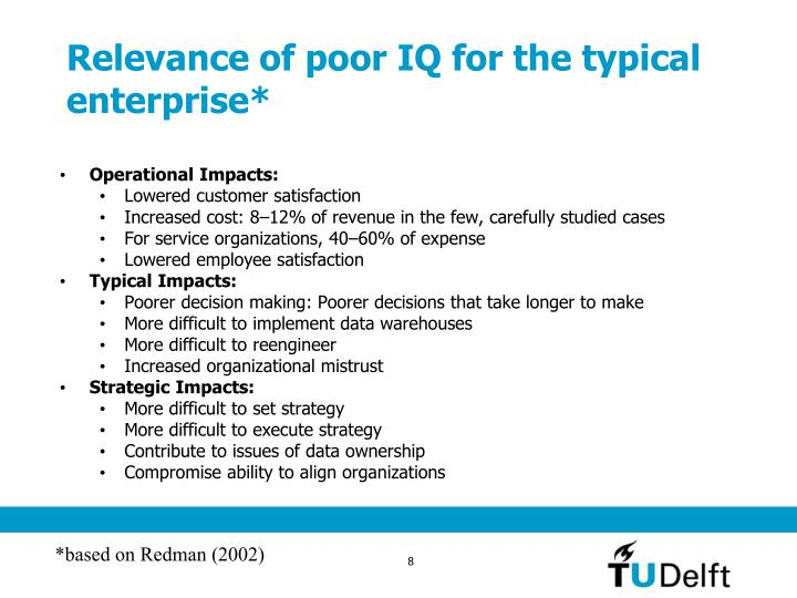 Relevance of poor IQ for the typical enterprise*