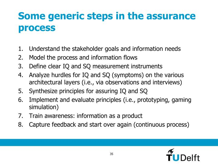 Some generic steps in the assurance process