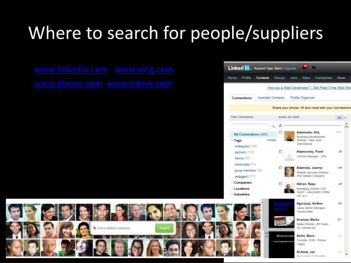 Where to search for people/suppliers