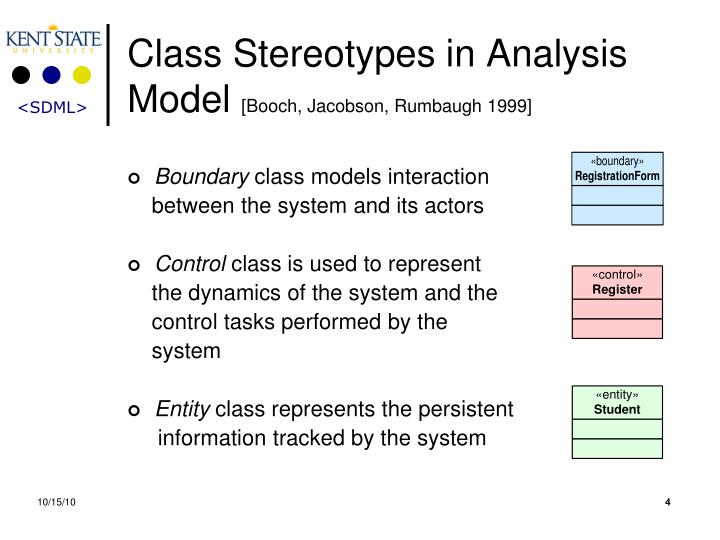 Class Stereotypes in Analysis Model