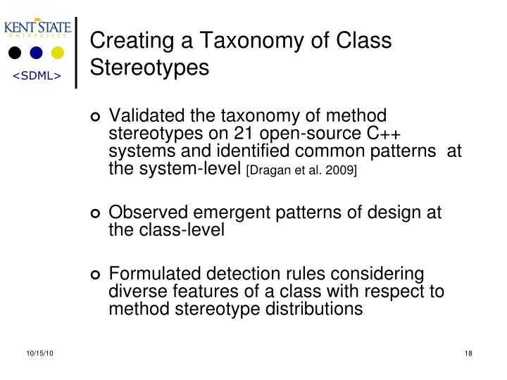 Creating a Taxonomy of Class Stereotypes