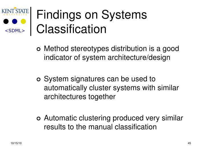 Findings on Systems Classification