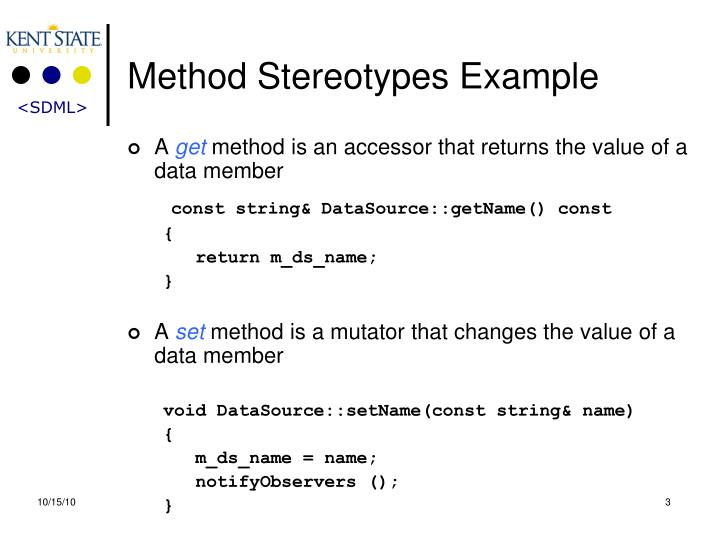 Method Stereotypes Example