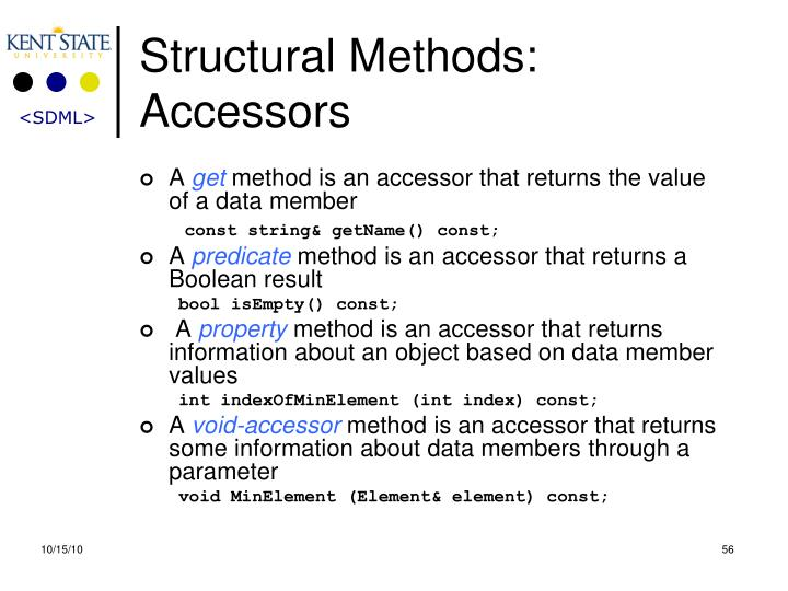 Structural Methods: Accessors