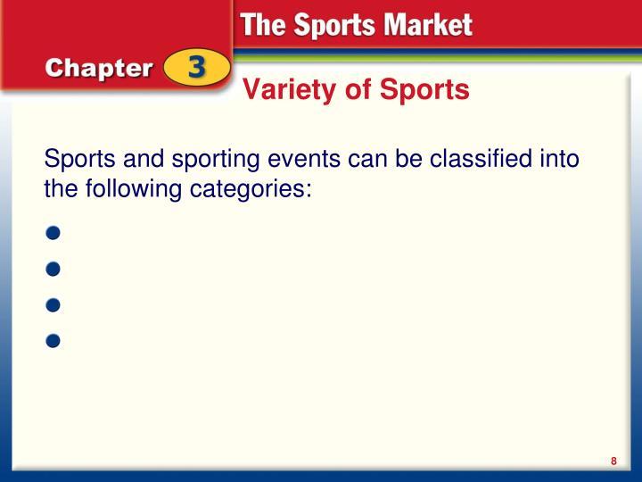 Variety of Sports