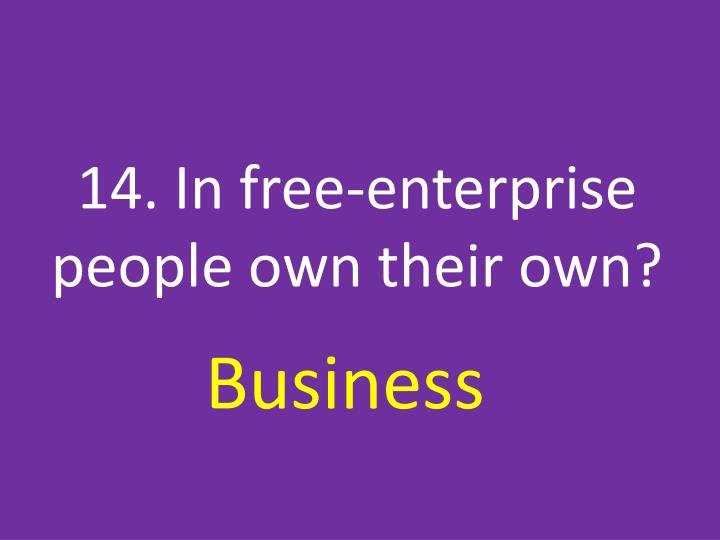 14. In free-enterprise people own their own?