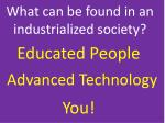 what can be found in an industrialized society