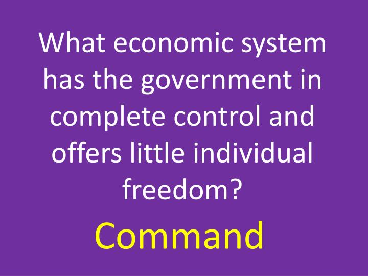 What economic system has the government in complete control and offers little individual freedom