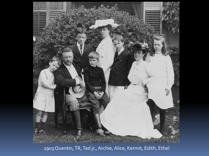 1903 Quentin, TR, Ted jr., Archie, Alice, Kermit, Edith, Ethel