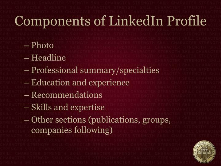 Components of LinkedIn Profile