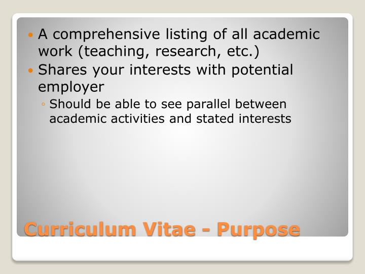 A comprehensive listing of all academic work (teaching, research, etc.)