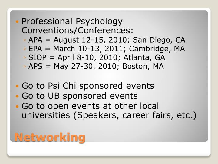Professional Psychology Conventions/Conferences: