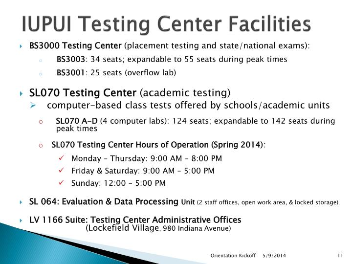 IUPUI Testing Center Facilities