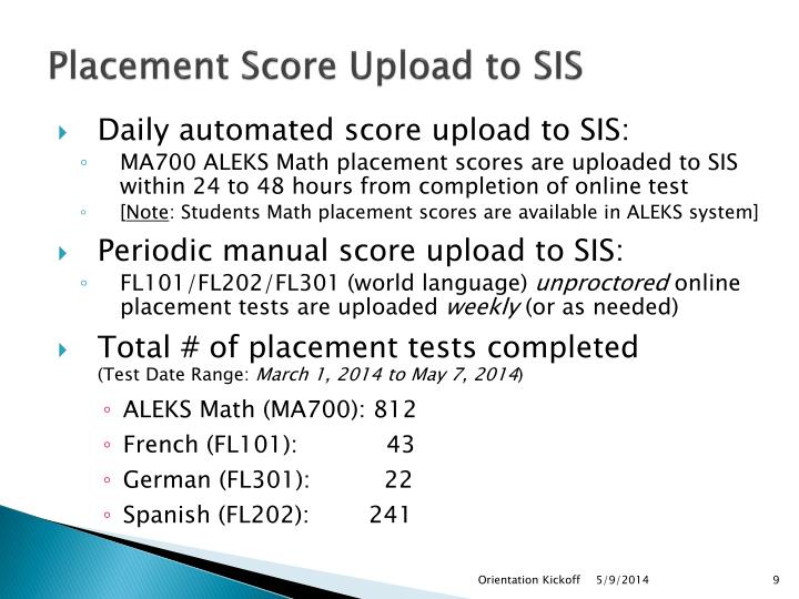 Placement Score Upload to SIS
