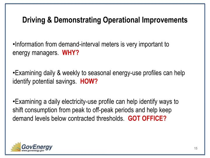 Driving & Demonstrating Operational Improvements