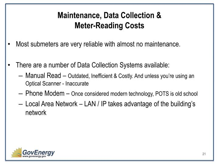 Maintenance, Data Collection &                                                      Meter-Reading Costs