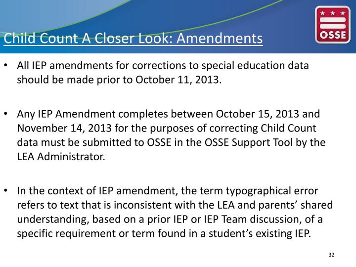 Child Count A Closer Look: Amendments